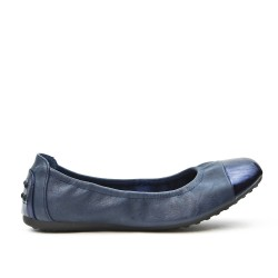 Navy comfort ballerina with metallic toe