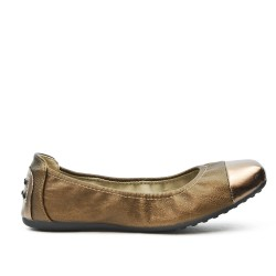 Bronzed comfort ballerina with metallic tip