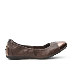 Brown comfort ballerina with metallic tip