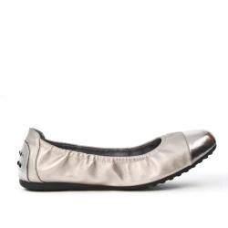 Silver comfort ballerina with metallic tip