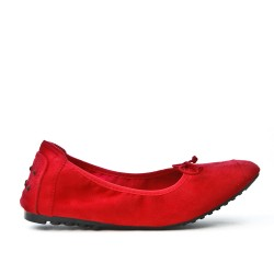 Red suede comfort ballerina with bow