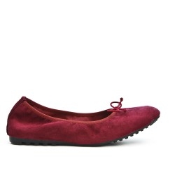 Burgundy comfort ballerina in faux suede with bow