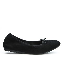 Comfort black ballerina in faux suede with bow