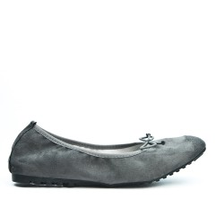 Comfort gray ballerina in faux suede with bow