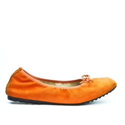 Orange comfort ballerina in faux suede with bow