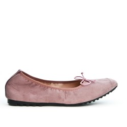 Comfort pink ballerina in faux suede with bow