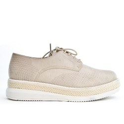 Beige perforated lace derby