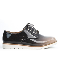 Gray Derby lace-up lacing