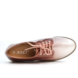 Pink Derby in lace-up lacing