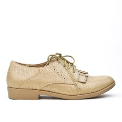 Beige Derby yoke with lace fringe