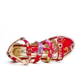 Sandale plate rouge imprimé fleurie