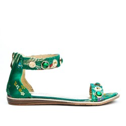 Sandale plate verte imprimé fleurie