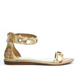 Beige floral print flat sandal