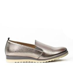Chaussure confort grise en simili cuir