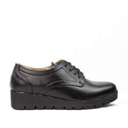Black derby faux leather lace