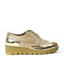 Golden lace-up faux leather brogue