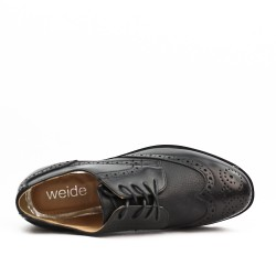 Black faux leather lace-up brogue