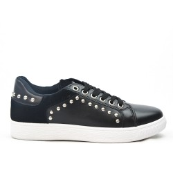 Black lace-up sneaker with studs