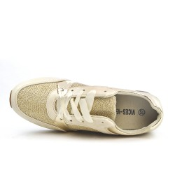 Beige sneaker with ribbon lace