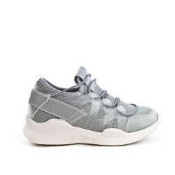 Gray kid's sneaker in stretchy textile
