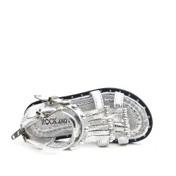 Silver girl sandal with bangs