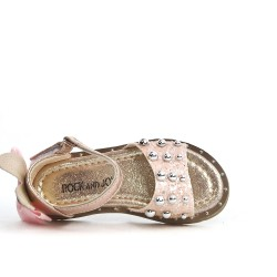 Champagne girl sandal with bow on the back