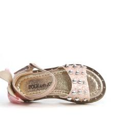 Sandale fille champagne à nœud au dos
