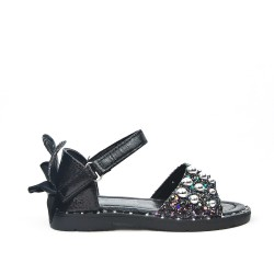 Black girl sandal with bow on the back