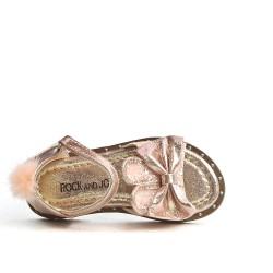 Sandale fille champagne à motif lapin