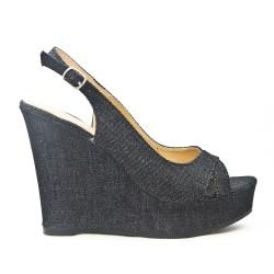 Sandale compensée en jean noir