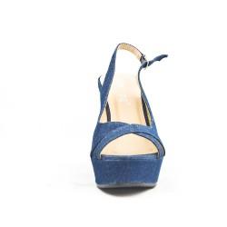 Sandale compensée en jean bleu marine