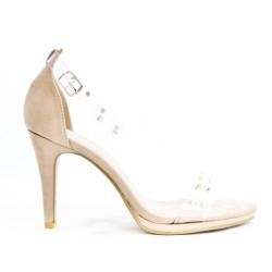 Sandale beige à détail transparent orné de clous