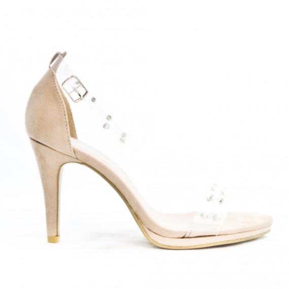 Beige sandal with transparent detail and studs