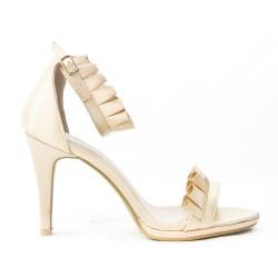 Sandale beige à volant