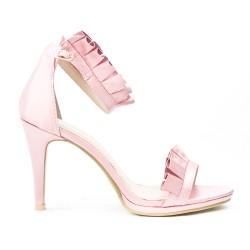Sandale rose à volant