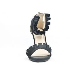 Sandale noire à volant