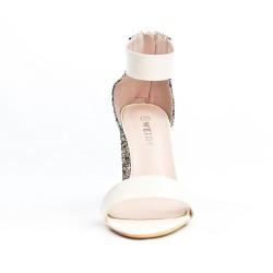 Sandale blanche à talon pailleté