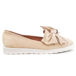 Beige faux suede loafer with bow