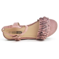 Pink sandal with espadrille sole