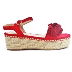 Red sandal with espadrille sole