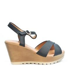 Sandale compensée noire à brides croisées