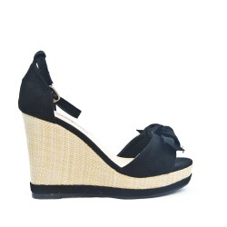 Black wedge sandal with bow