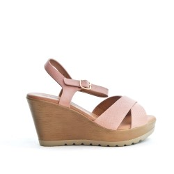 Pink wedge sandal with crossed straps