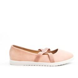 Pink comfort ballerina in faux suede
