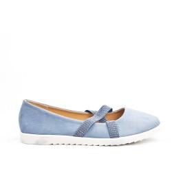 Blue comfort ballerina in faux suede