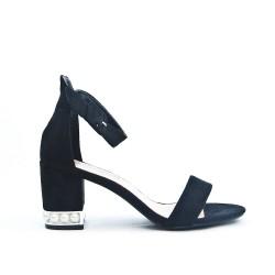 Black sandal with rhinestones in heel