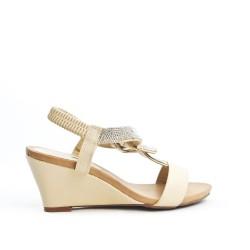 Beige sandal with rhinestones
