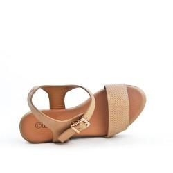 Sandale compensée beige à bride perforée