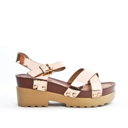 Champagne sandal with big heel