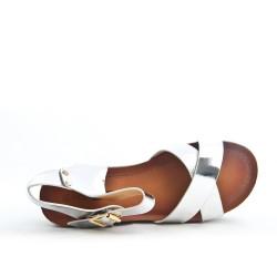 Silver sandal with big heel